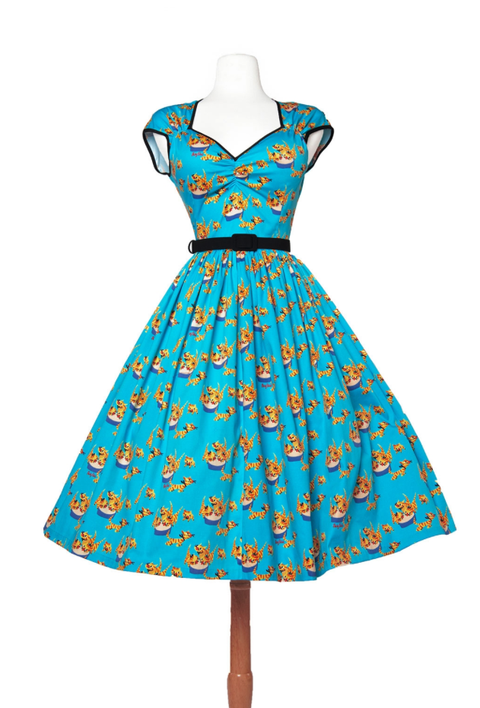 Heidi Dress in Mary Blair Cat Print (XS IN STOCK) PHONE ORDER ONLY!