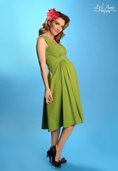 Preggers Scrumptious Dress Olive Green
