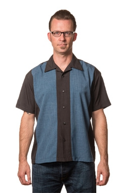 Poplin Check Mid Panel Button Up Black/Blue