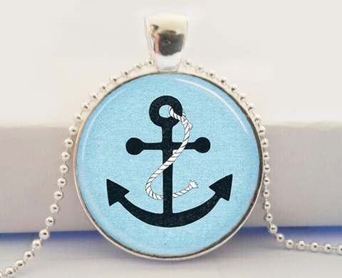 Anchor Glass Pendant Necklace