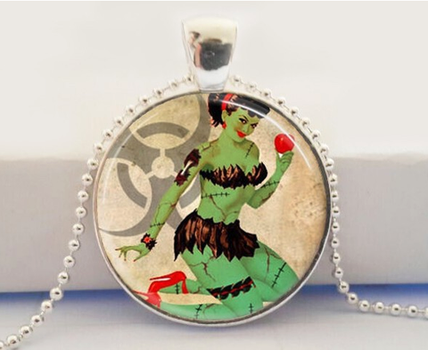 Zombie Pinup Glass Pendant Necklace