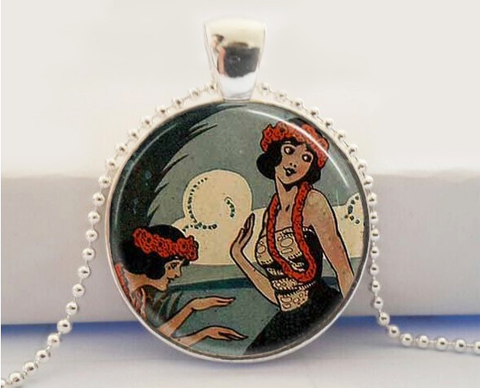 Hula Girls Glass Pendant Necklace