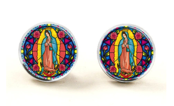 Our Lady Glass Stud Earrings