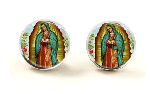 Virgin Mary Glass Stud Earrings
