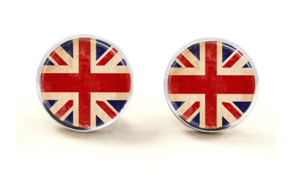 Union Jack Glass Stud Earrings