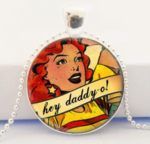 Hey Daddy O Glass Pendant Necklace