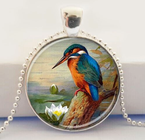 Kingfisher Glass Pendant Necklace