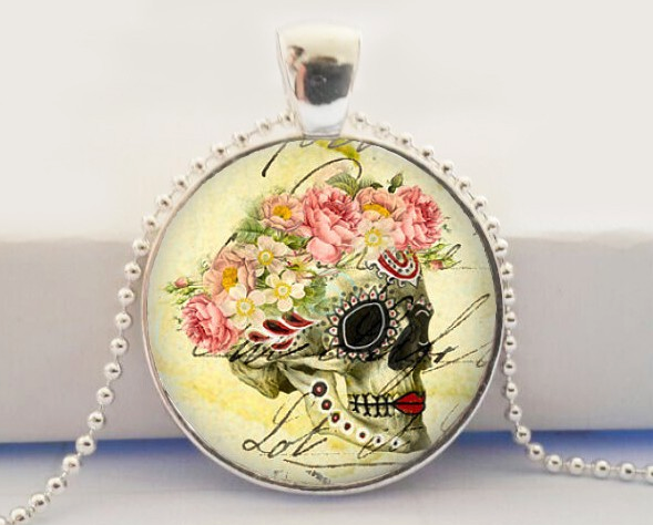 Flower Crown Skull Glass Pendant Necklace
