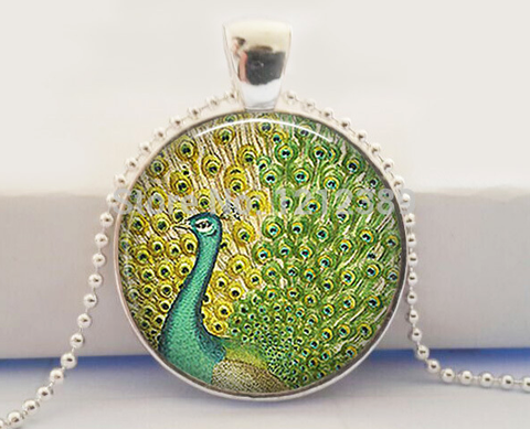 Vintage Peacock Glass Pendant Necklace