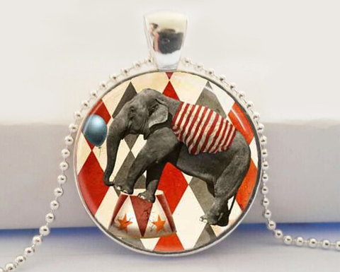 Big Top Carnival Elephant Glass Pendant Necklace