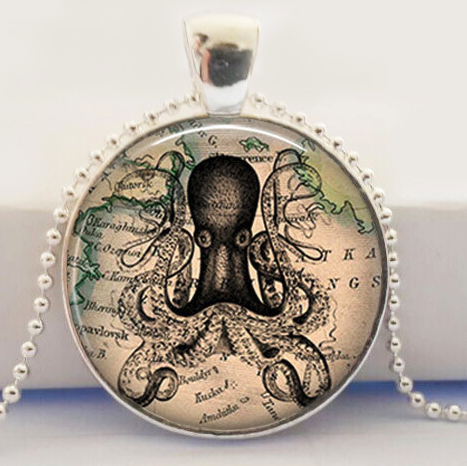 Steampunk Octopus Glass Pendant Necklace