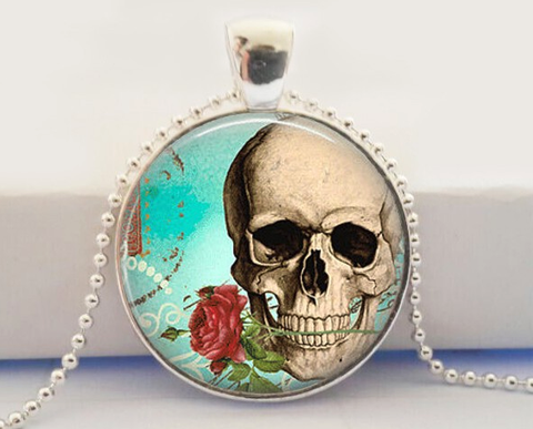 Skull Rose Glass Pendant Necklace
