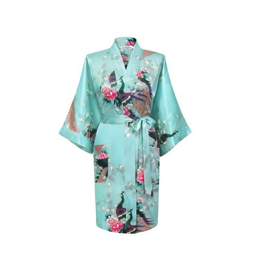 Satin Peacock Kimono Light Blue