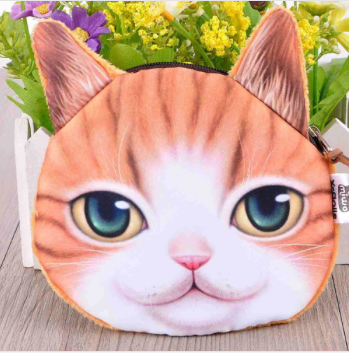 Cat Coin Purse Ginger/White