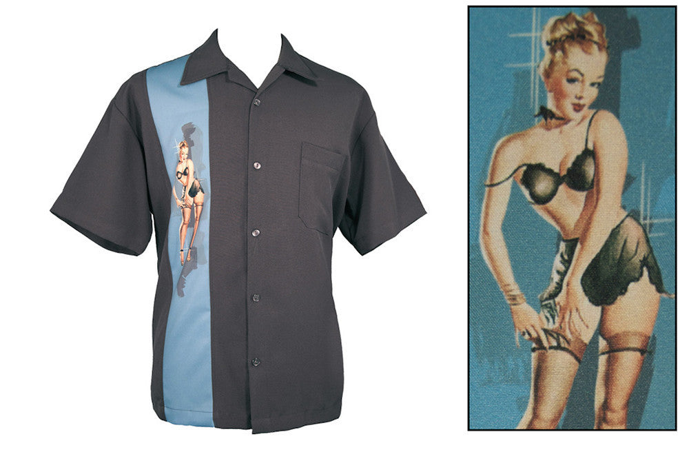 Single Pin-Up Panel Shirt in Charcoal (4XL ONLY) - Natasha Marie Clothing