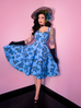 Sweetheart Circle Dress in Blue Roses (XS, M and 4XL ONLY)