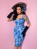 Sweetheart Wiggle Dress in Blue Vintage Roses