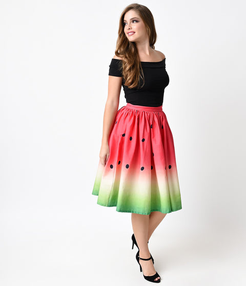 Watermelon Circle Swing Skirt
