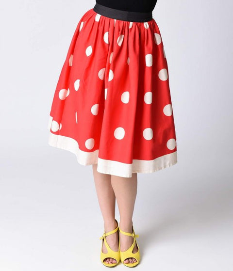 Red & Ivory Polka Dot Circle Swing Skirt