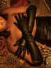 PRE ORDER Black Faux Leather Vegan Opera Gloves - Natasha Marie Clothing