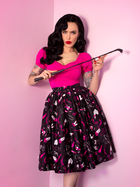 LIMITED EDITION Vixen Swing Skirt in Frisky Fetish Print
