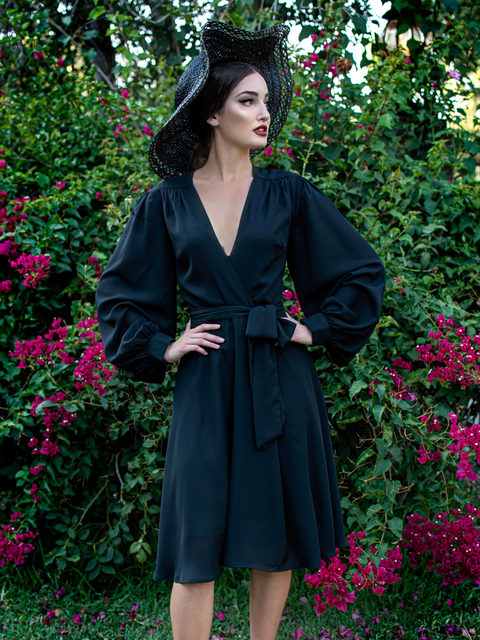 Serpentine Wrap Dress in Black (L and 3XL ONLY)