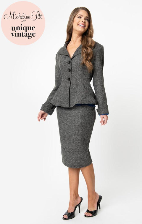 PRE ORDER Micheline Pitt For Unique Vintage Grey Tweed Rachael Suit Wiggle Skirt