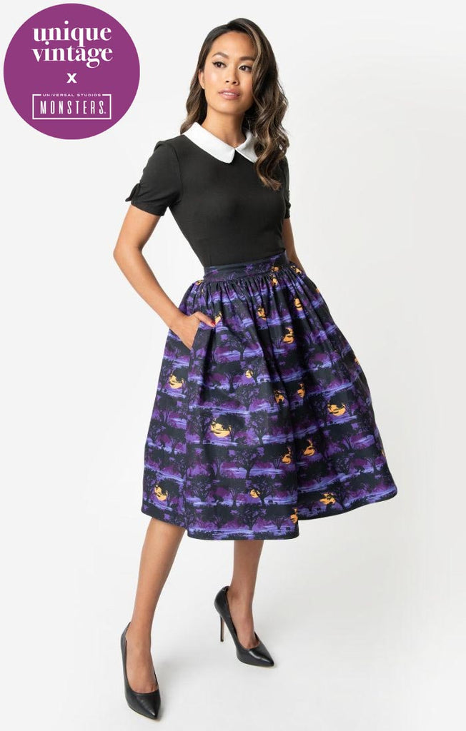 Universal Monsters x Unique Vintage The Wolf Man Print High Waist Circle Swing Skirt - Natasha Marie Clothing