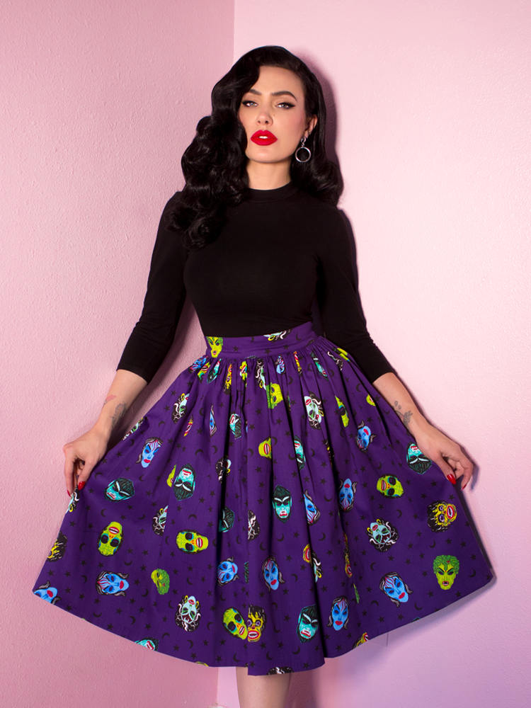 Ben Cooper Vixen Swing Skirt in Monster Mask Print (XS and 4XL Only)