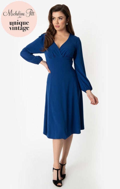 PRE ORDER Micheline Pitt For Unique Vintage 1950s Style Royal Blue Pris Swing Dress