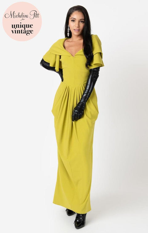 Micheline Pitt For Unique Vintage 1940s Style Chartreuse Zhora Hooded Gown