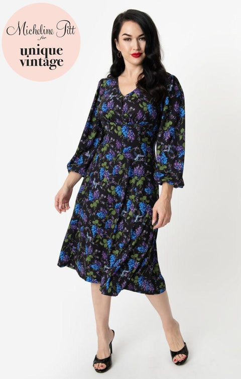 PRE ORDER Micheline Pitt For Unique Vintage 1950s Style Floral & Origami Print Pris Swing Dress