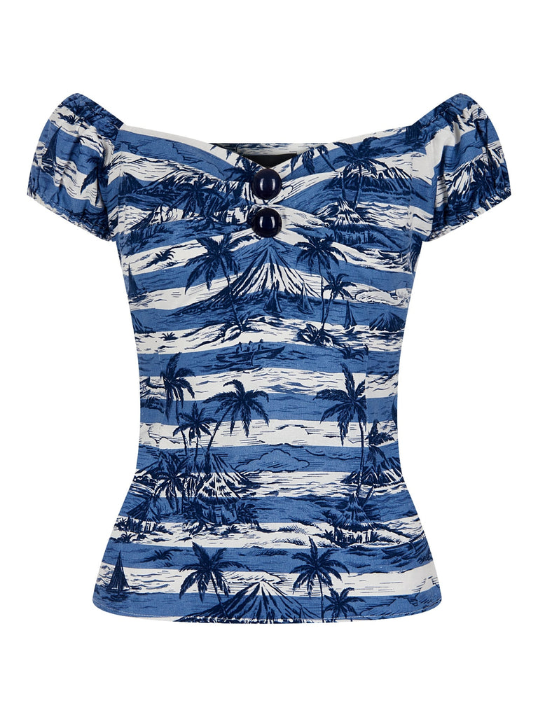 Dolores Top in Mahiki Print (XXS, XS and 4XL ONLY) - Natasha Marie Clothing