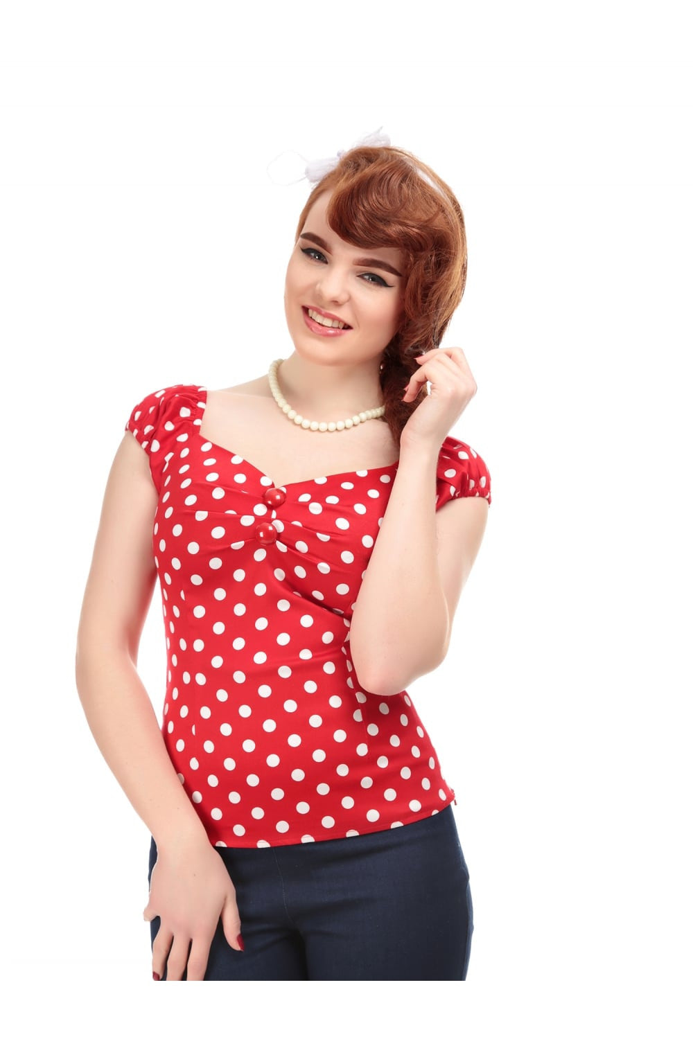 Dolores Top in Red/White Polka