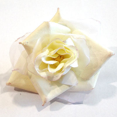 Ivory Lemon Material Flower Brooch