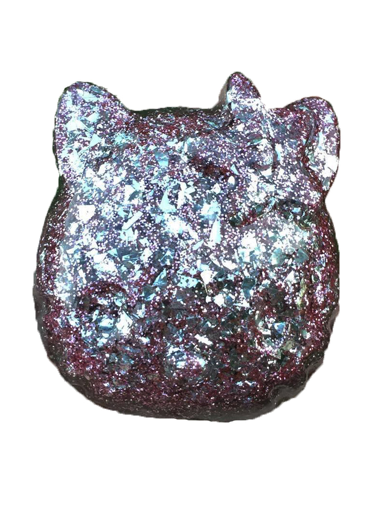 Hello Kitty Paperweight in Orchid Glitter Bomb w/Silver Flake