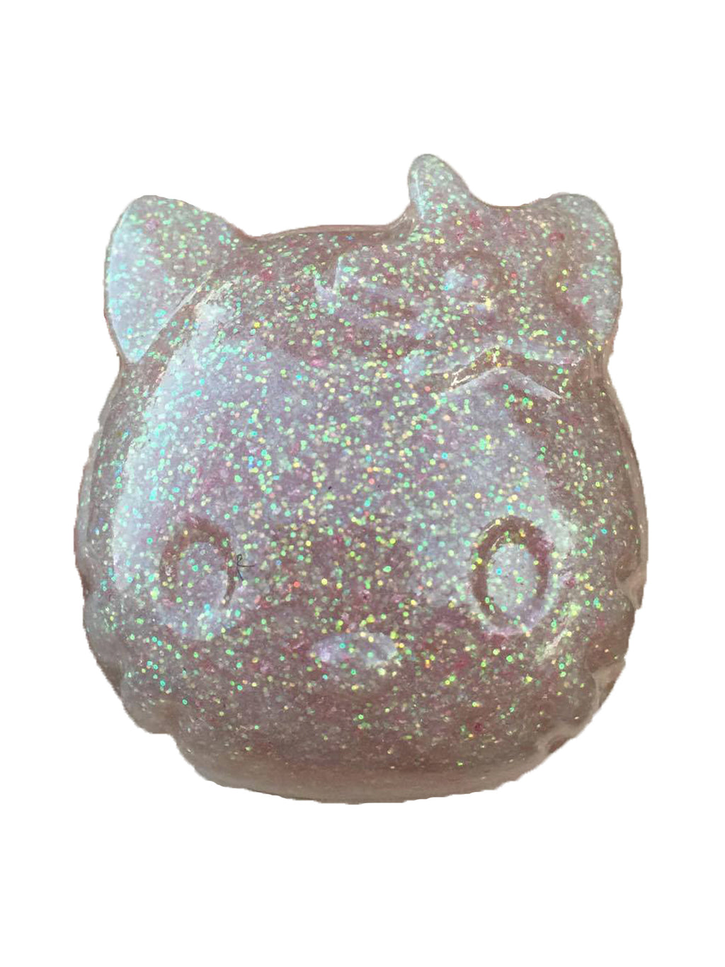 Hello Kitty Paperweight in Baby Pink and White Glitter