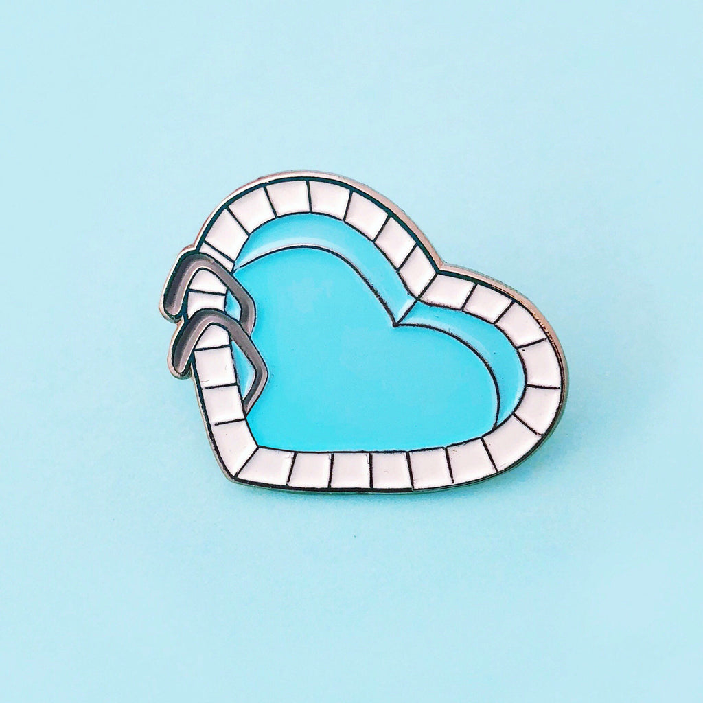 Heart Shaped Pool Lapel Pin - Natasha Marie Clothing