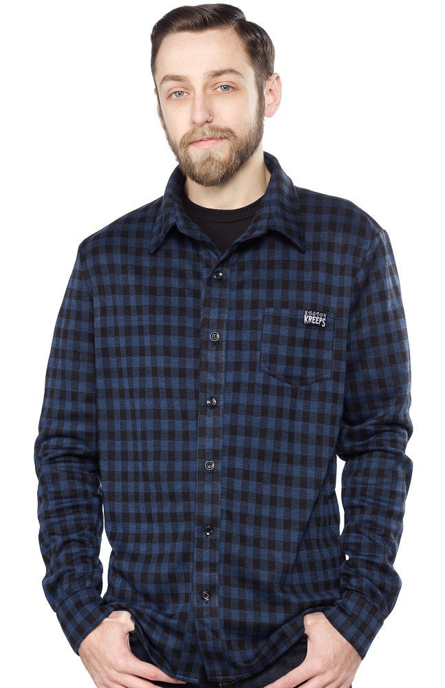 Kustom Kreeps Plaid Button Up Shirt Navy