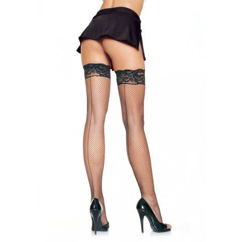 Stay Up Fishnet Lace Top Stockings w/ Backseam