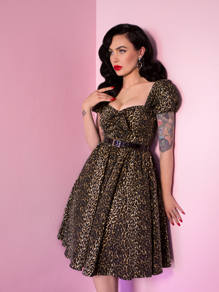 Vixen Swing Dress in Vintage Leopard Print (S and 4XL ONLY) - Natasha Marie Clothing