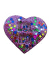 "Sassy Heart ""LOL NO"" Brooch in Orchid Glitter Bomb w/Stars"