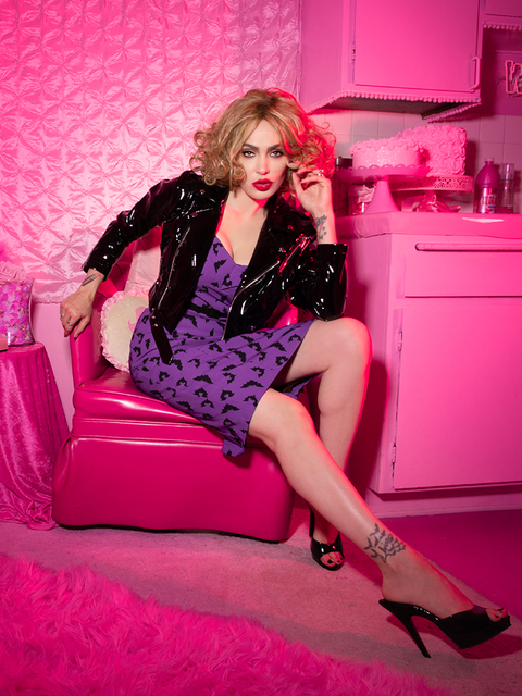 Miss Kitty Maneater Wiggle Dress in Bat Print (S and L ONLY)