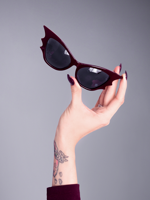 Vamp Batwing Cat-eye Sunglasses Set in Oxblood - Natasha Marie Clothing