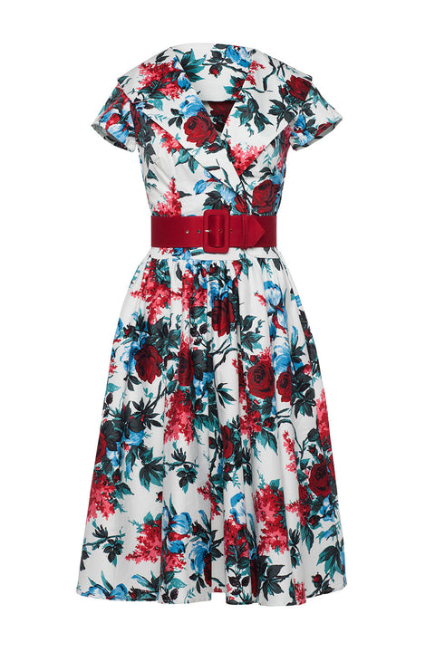 Birdie Party Dress in White and Red Floral (S IN STOCK ONLY) PHONE ORDER ONLY!