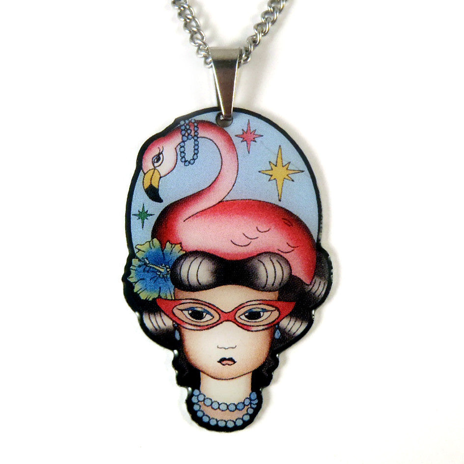 Phoebe the Flamingo Lady Pendant