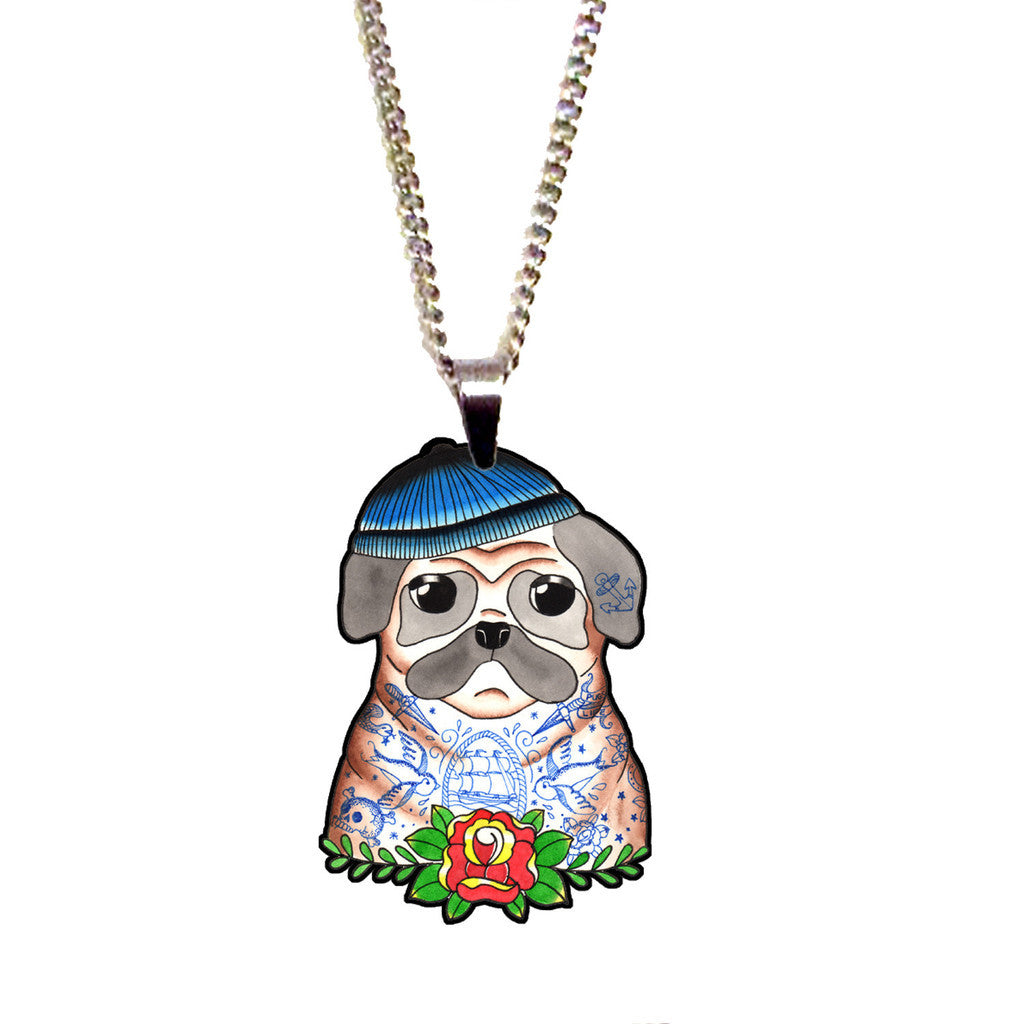 Sailor Pug Mini Pendant