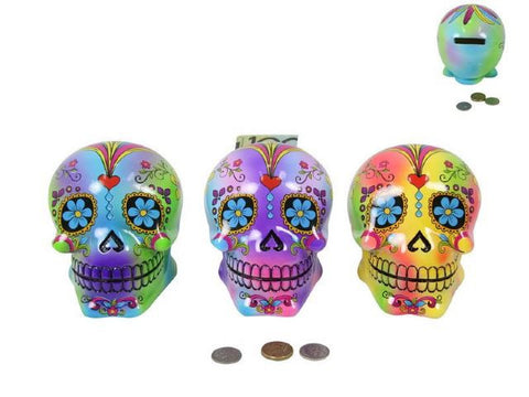 Psychedelic Candy Skull Money Box - 3 Colours Available