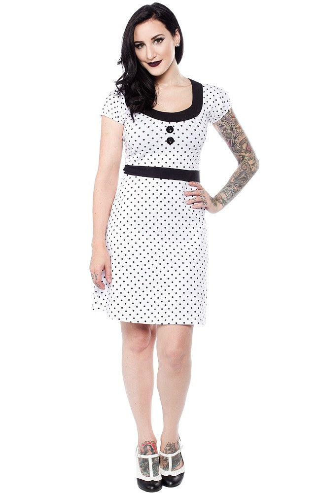 Beki Dress in White/Black Dots