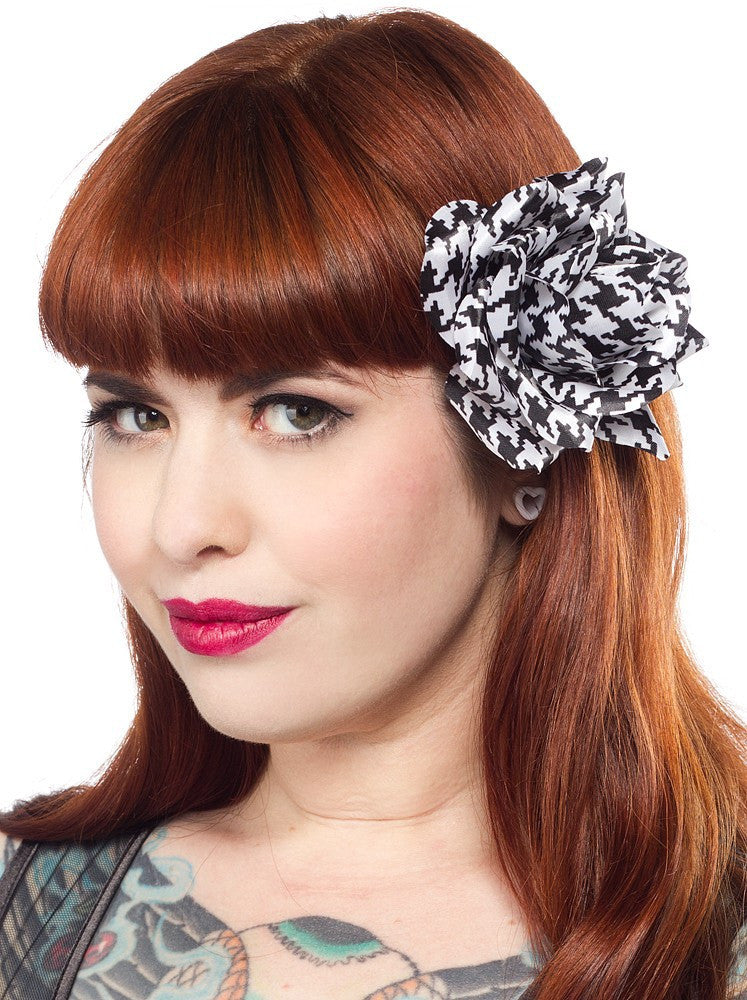 Rose Hair Clip Houndstooth